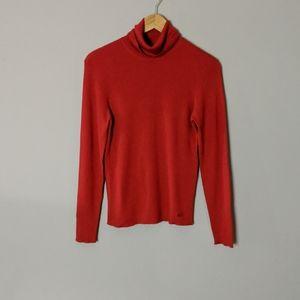 Escada Red Wool Silk Cashmere Turtleneck sz 44